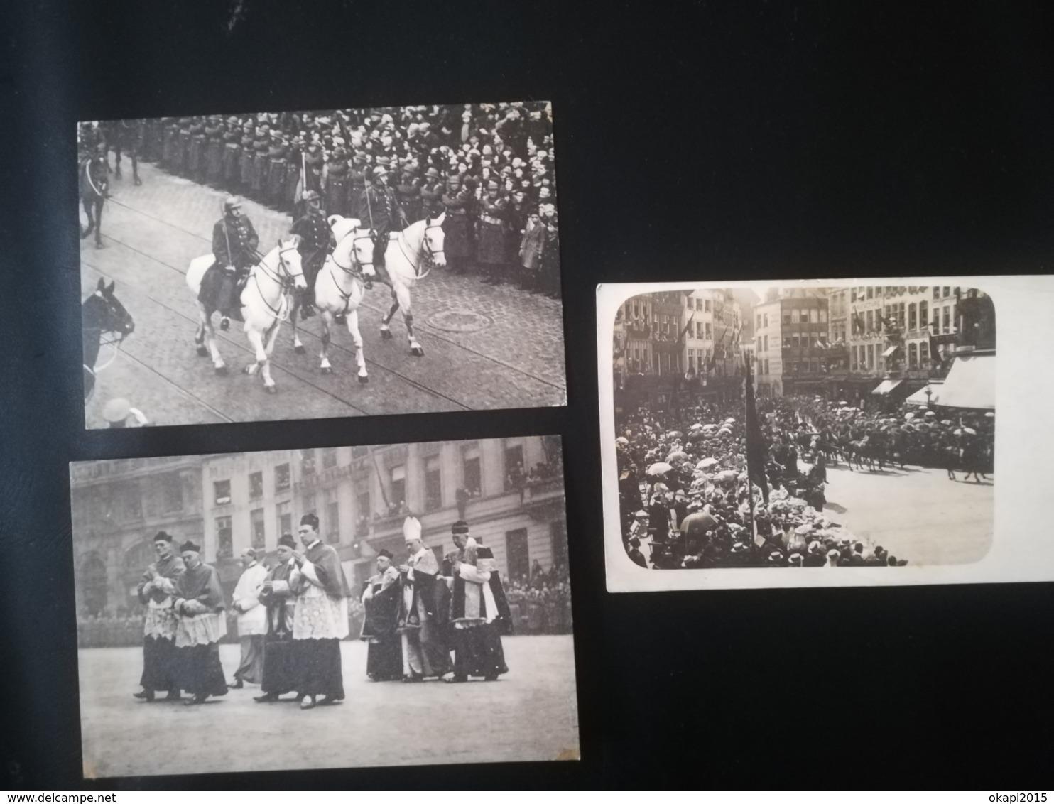CALÈCHE ACCOMPAGNÉE DE CAVALIERS FOULE BELGIQUE CARTE - PHOTO CARTE POSTALE  À DOS NON DIVISÉ CPA + 2 CP FUNÉRAILLES ROI - Familles Royales