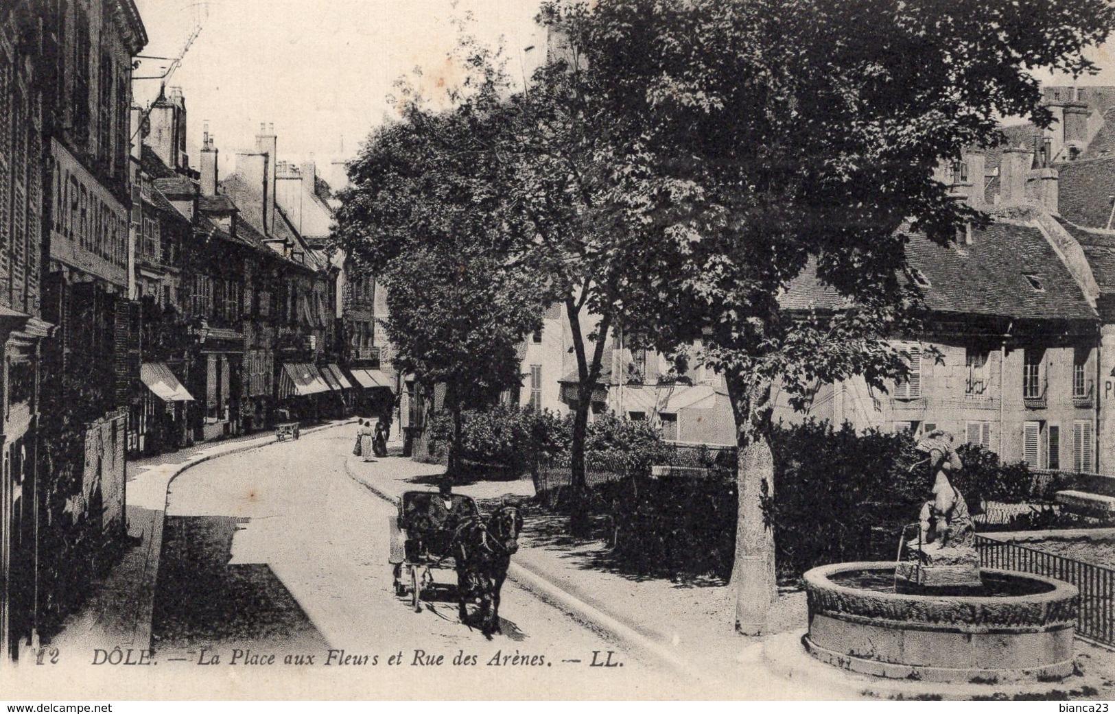 B58923 Cpa Dôle - La Place Aux Fleurs Et Rue Des Arênes - Unclassified