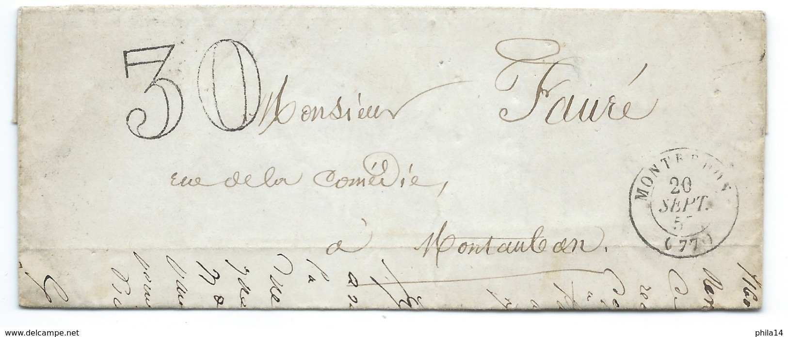 MARQUE POSTALE MONTREDON LABESSONNIE TARN POUR MONTAUBAN / 1857 TAXE 30 DOUBLE TRAIT - 1849-1876: Classic Period