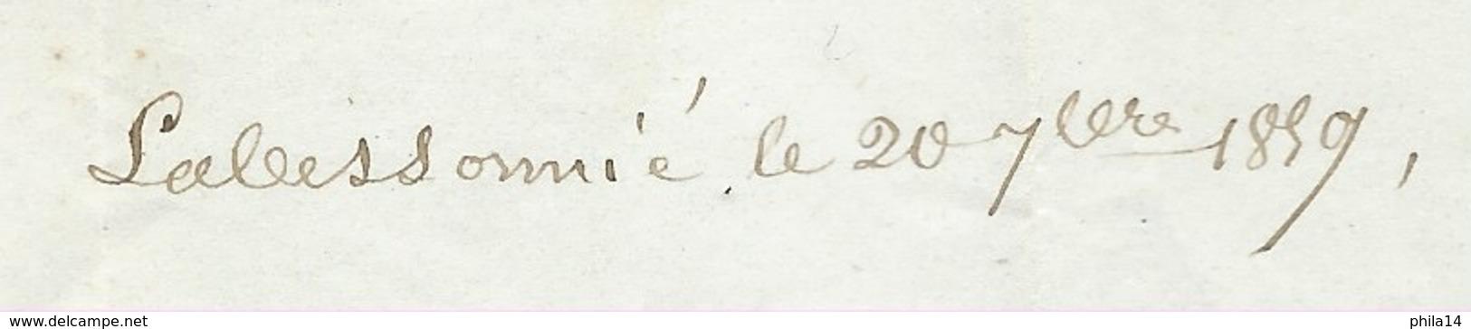 MARQUE POSTALE MONTREDON LABESSONNIE TARN POUR MONTAUBAN / 1857 TAXE 30 DOUBLE TRAIT - Postmark Collection (Covers)