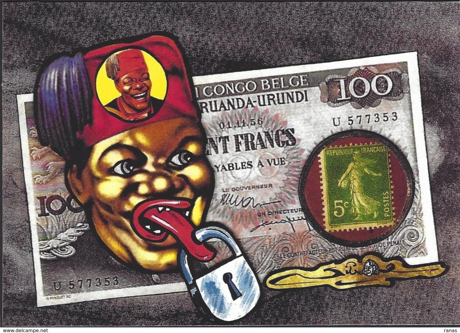 CPM Timbre Monnaie Par Jihel Tirage Limité En 30 Ex Numérotés Signés Banania Colonialisme Négritude Billet De Banque - Coins (pictures)