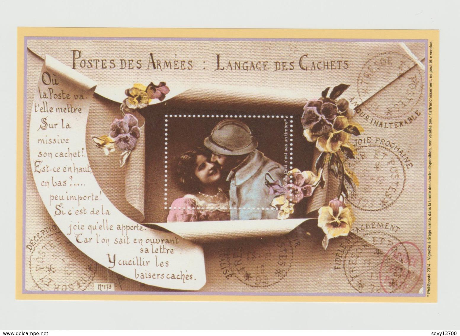 4 Bloc-feuillet Vignette Philaposte 2014 - Poste Des Armées, Le Conscrit, Joyeux Noel - Documents Of Postal Services