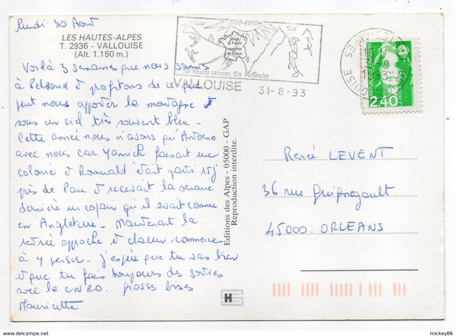 VALLOUISE --1993 -- Vue Du Village  (fontaine) ---timbre -- Cachet - France