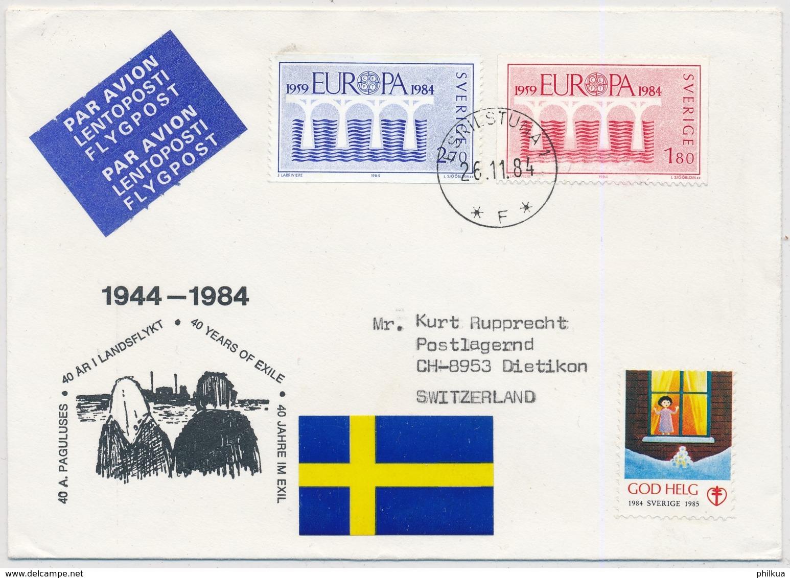 Europa 1984 - Schweden - Luftpostbrief Gelaufen Skilstuna - Dietikon - Europa-CEPT
