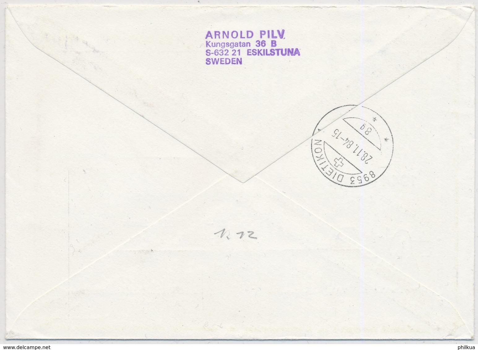 Europa 1984 - Schweden - Luftpostbrief Gelaufen Skilstuna - Dietikon - 1984