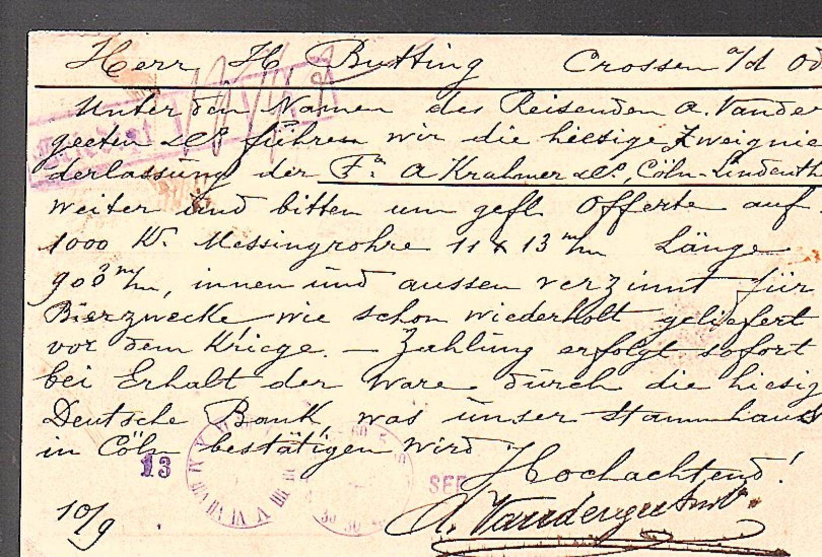 Vandergeeten Robinetteriies Tuyauteries Bondes Soudures > Crossen (790) - WW I