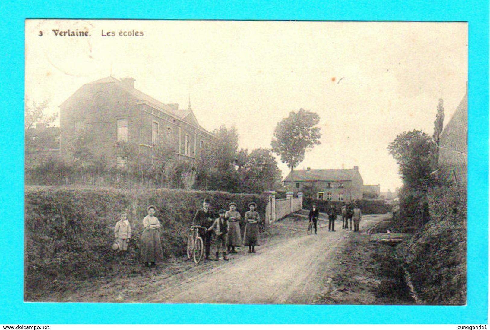 CPA VERLAINE : Les Ecoles N° 3 - Animée Et Circulée En 1912 - Ed N. Laflotte - 2 Scans - Verlaine