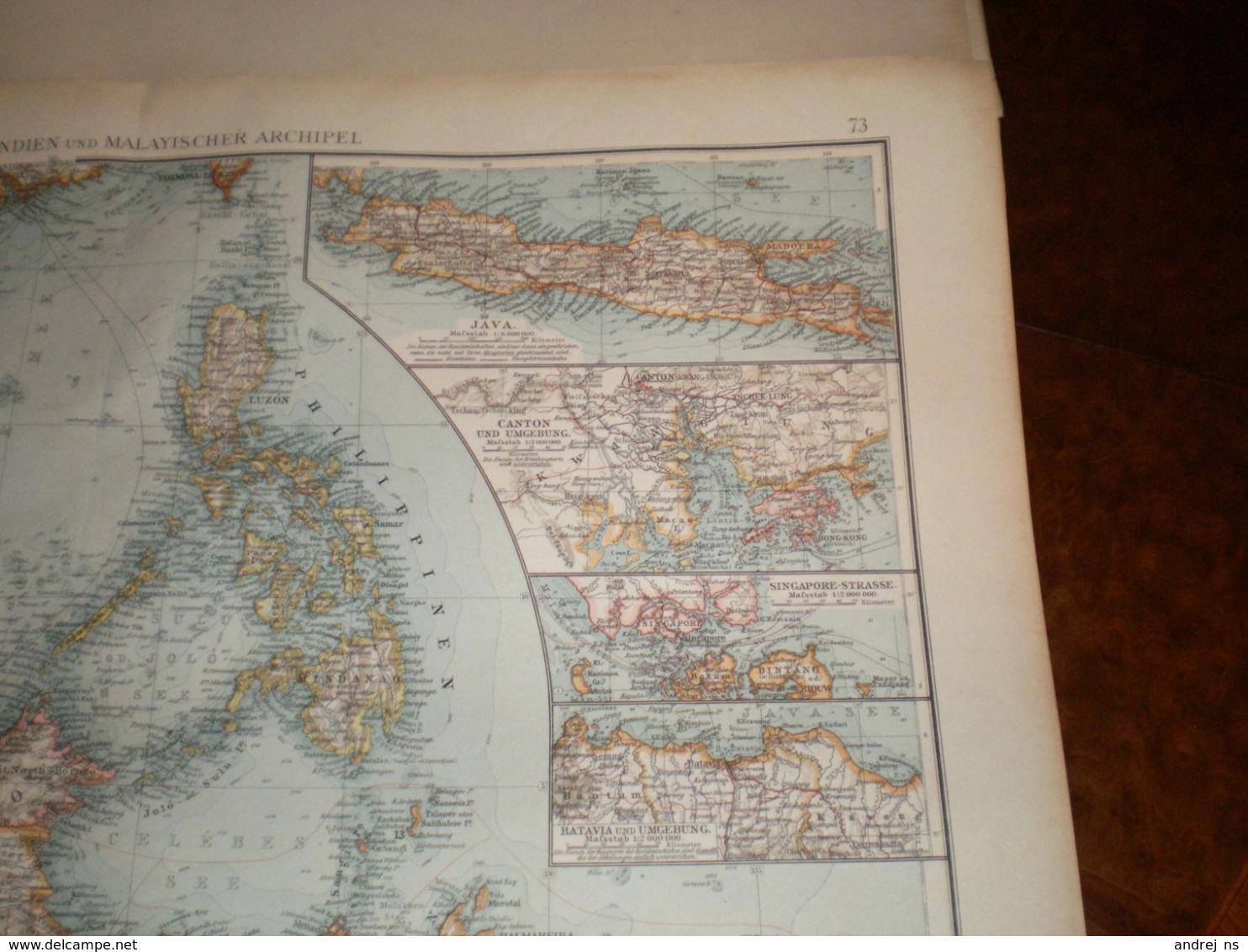 Hinterindien Und Malayischer Archipe; Volks Und Familien Atlas A Shobel Leipzig 1901 Big Map - Cartes Géographiques