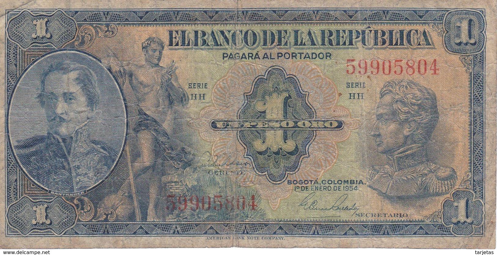 BILLETE DE COLOMBIA DE 1 PESO DE ORO DEL AÑO 1954  (BANK NOTE) - Colombia