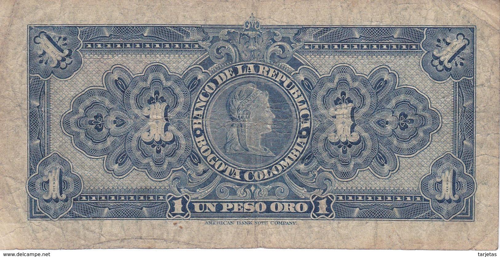 BILLETE DE COLOMBIA DE 1 PESO DE ORO DEL AÑO 1954  (BANK NOTE) - Kolumbien