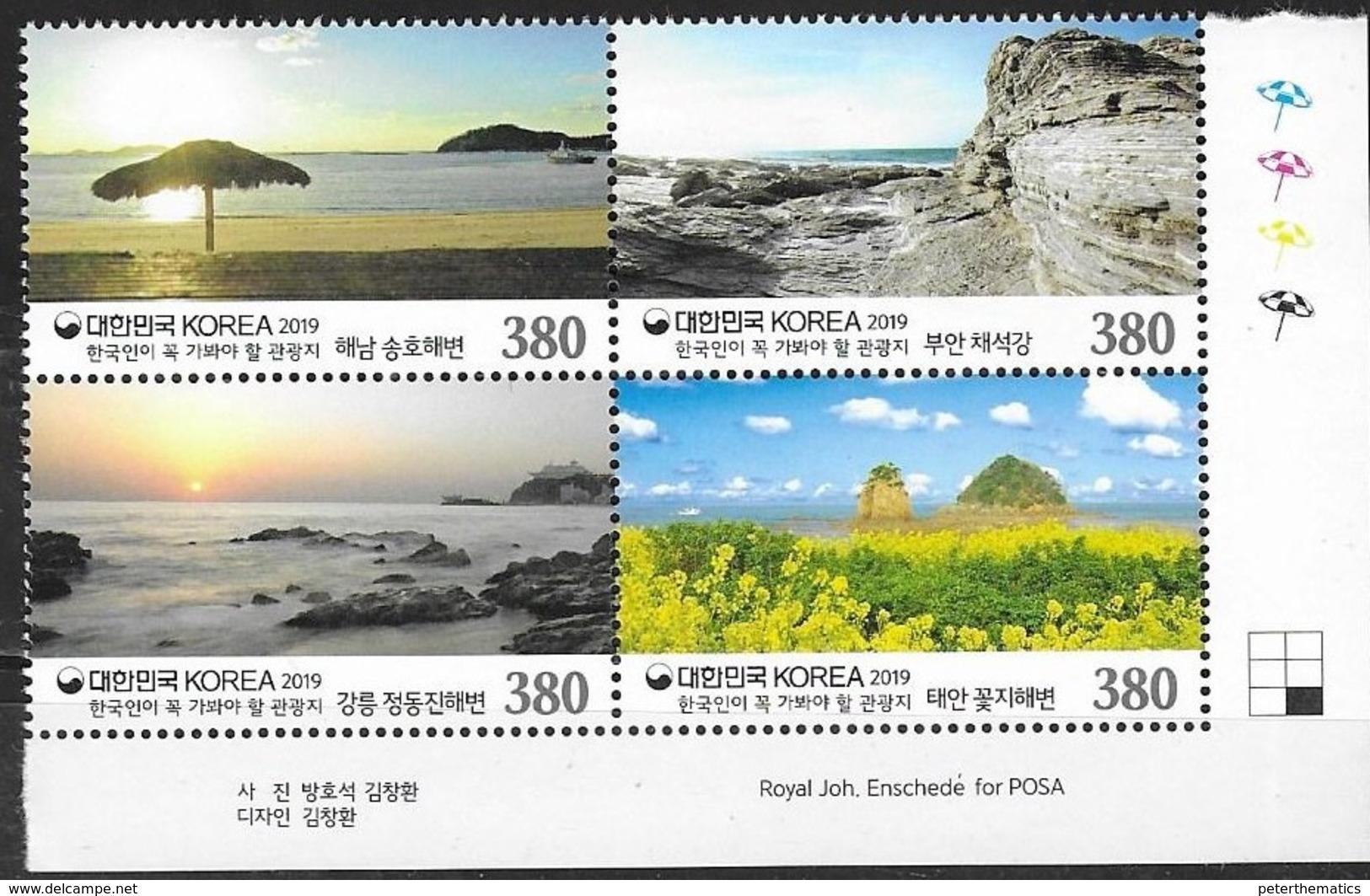 SOUTH KOREA, 2019, MNH, TOURISM, BEACHES, BOATS, LANDSCAPES, 4v - Vakantie & Toerisme