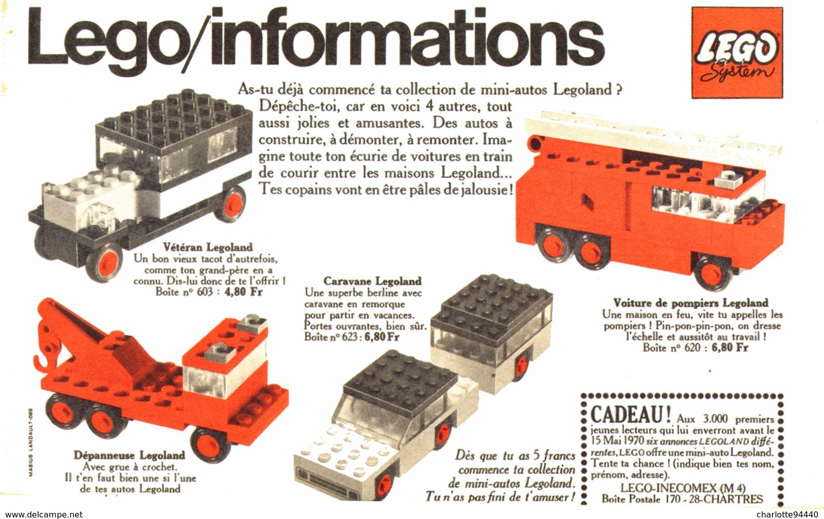 """PUB  """" CARAVANE / DEPANNEUSE / POMPIER /AMBULANCE / CHARIOT """" """" LEGO INFORMATION""""   1970 - Lego"""