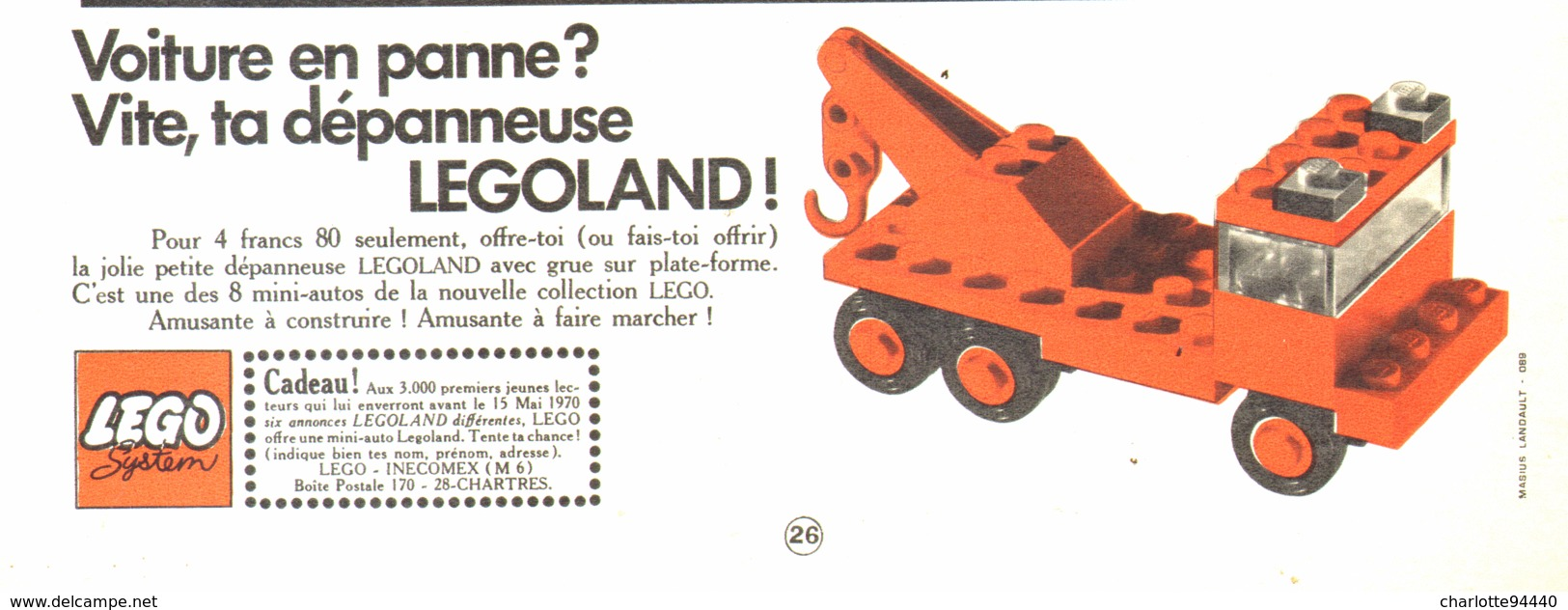 "PUB  "" DEPANNEUSE  "" "" LEGO ""   1970 - Lego"