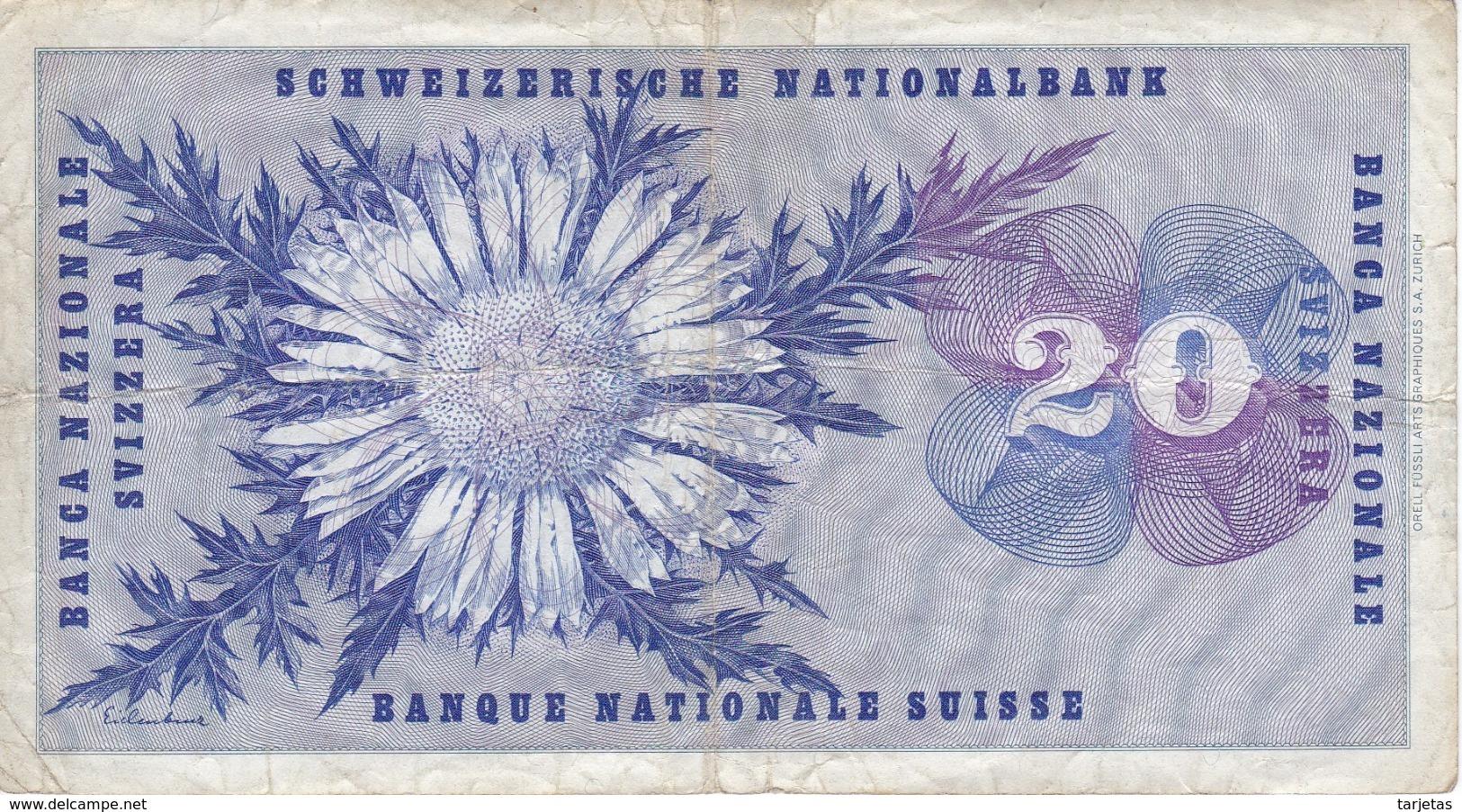BILLETE DE SUIZA DE 20 FRANCS DEL AÑO 1976 (BANKNOTE) - Suiza