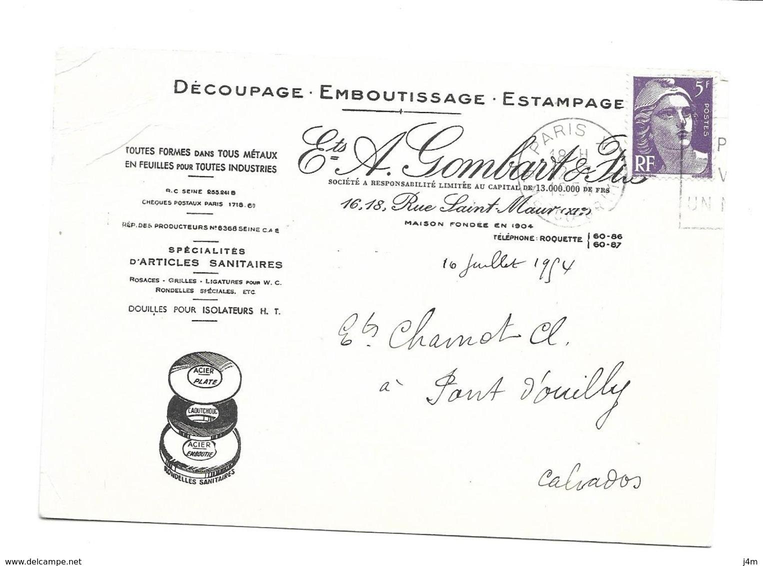 DOCUMENT Commercial CARTE POSTALE 1954..Découpage Emboutissage Ets A. GOMBART & Cie Rue St Maur PARIS XIe - France