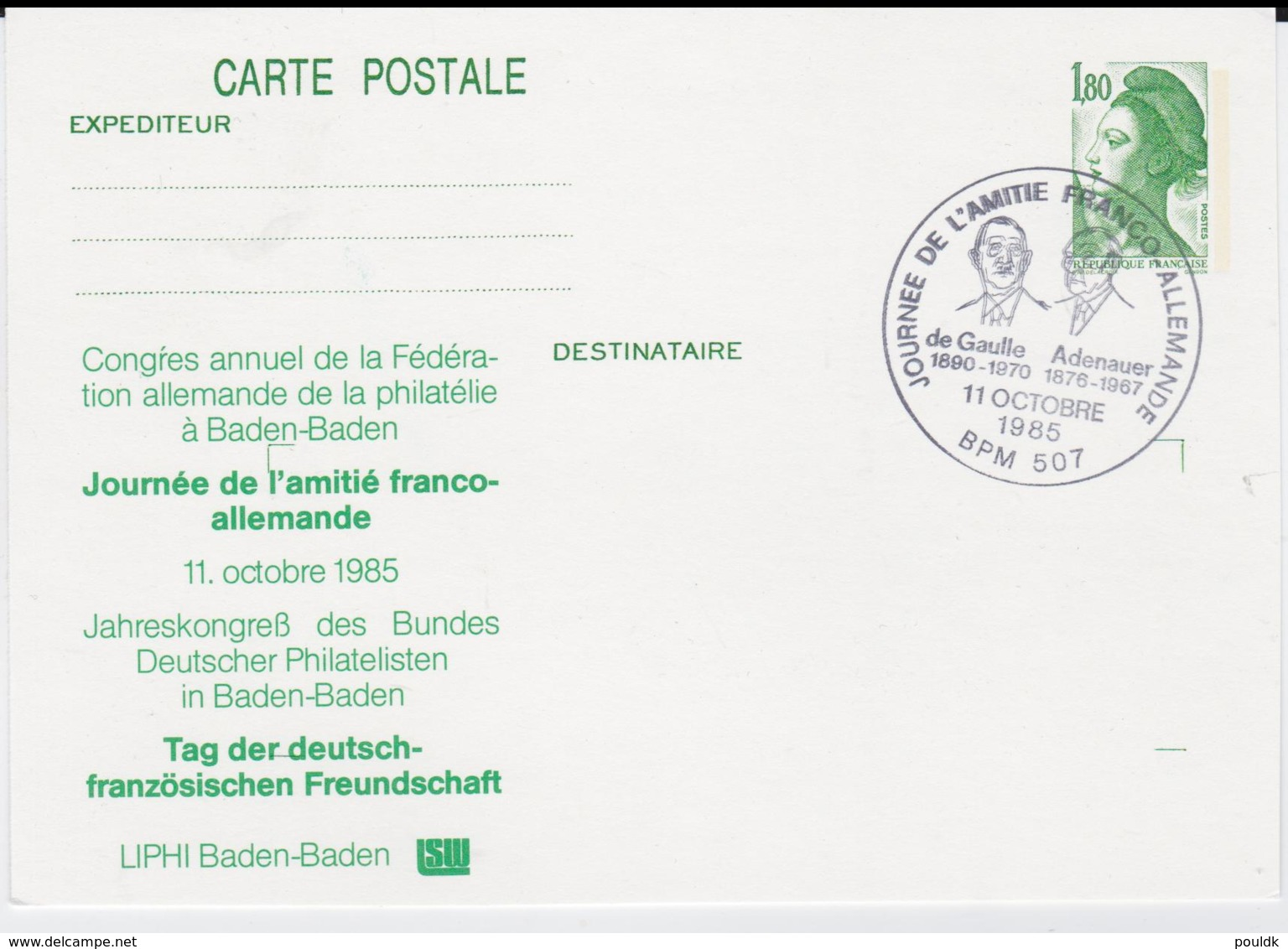 France Postal Stationary Posted BPM 507 (French Military Post In Baden-Baden) 1985 Journee De L'amitie - Postal Stamped Stationery