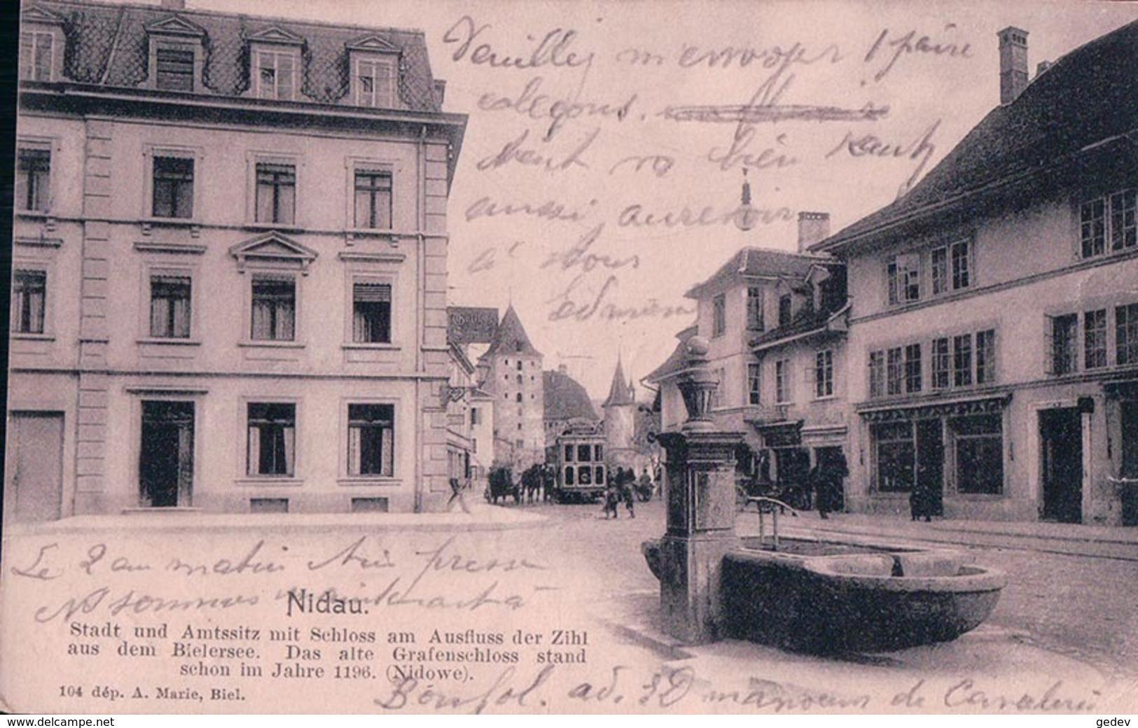 """Nidau Bienne BE, Tramway Et Fontaine, Cachet Militaire """"Escadron De Dragons Officiel"""" (3.9.10) Pli D'angle - BE Berne"""