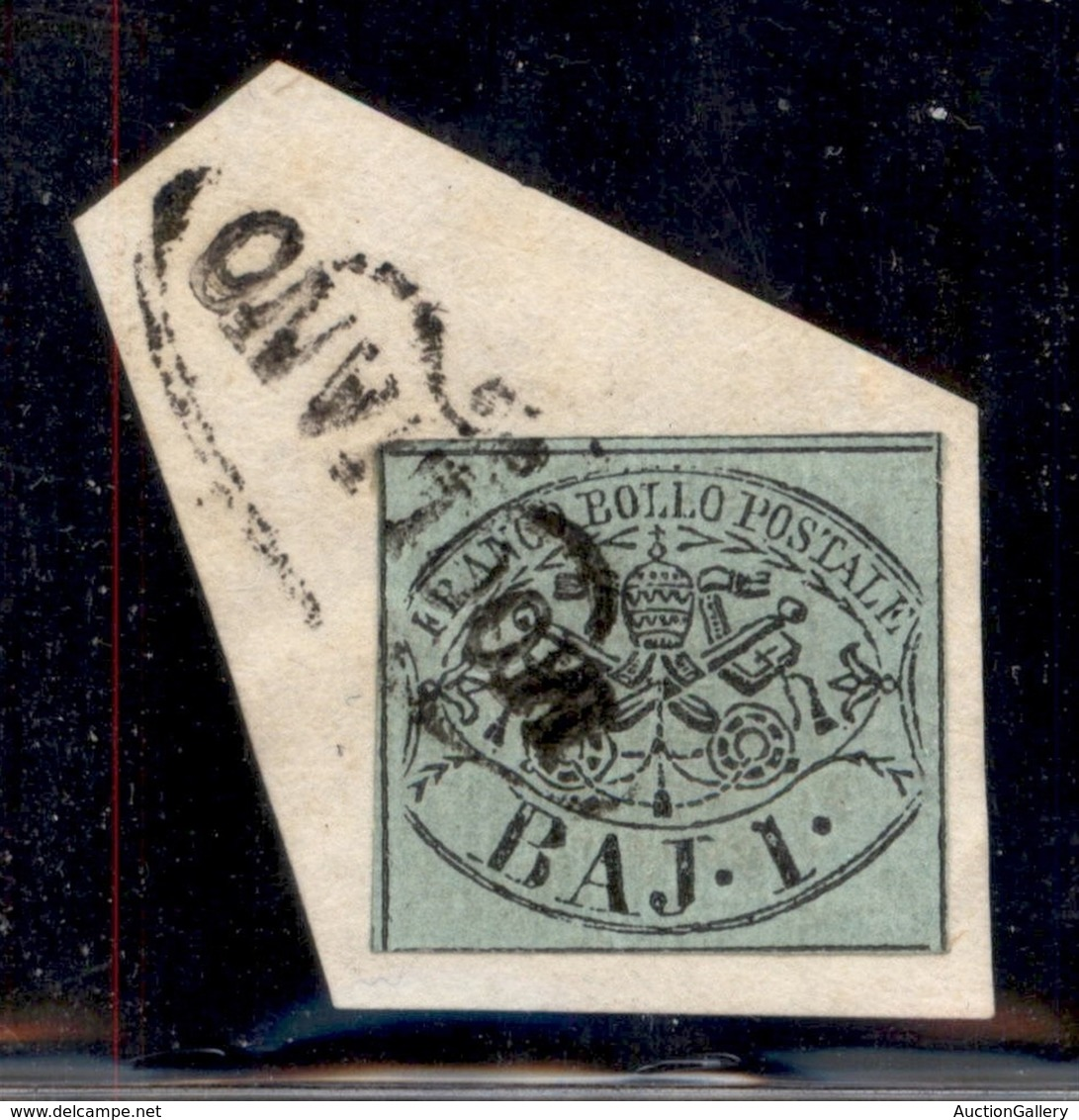 Antichi Stati Italiani - Stato Pontificio - Mogliano (P.ti 7) - 1 Bai (2) Su Frammento - Sellos