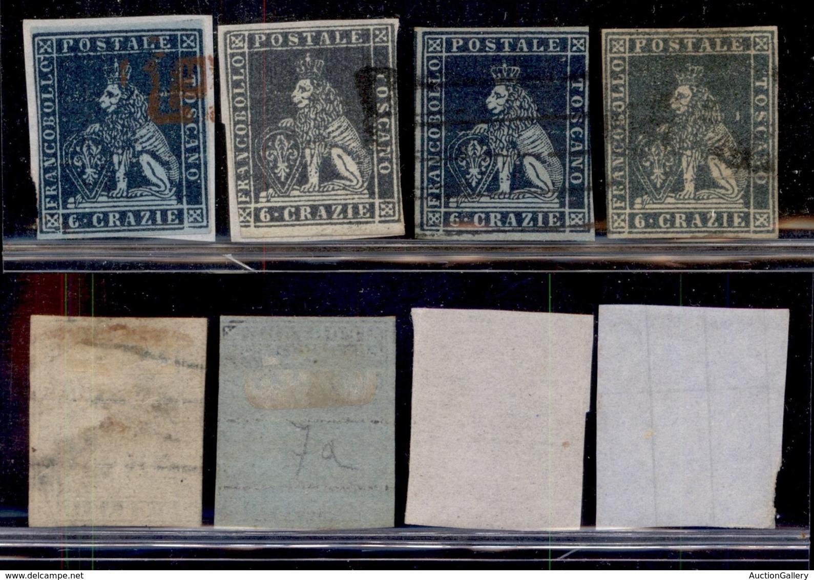 Antichi Stati Italiani - Toscana - 1851 - 6 Crazie (7/7c) - Quattro Usati - Colori Diversi - Margini Corti - Sellos