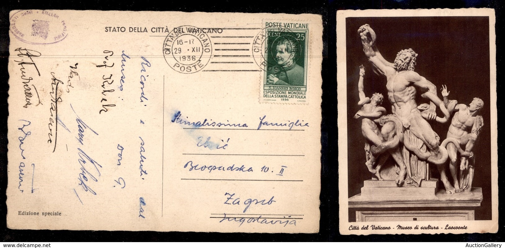 VATICANO - 25 Cent Stampa Cattolica (49) Isolato Su Cartolina Per Zagabria Del 29.12.36 (150+) - Stamps