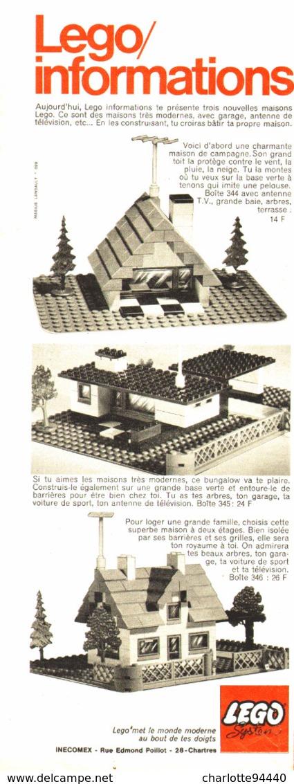 """PUB  """" LES MAISONS TRES MODERNES   """" """" LEGO INFORMATION""""   1969 - Lego"""