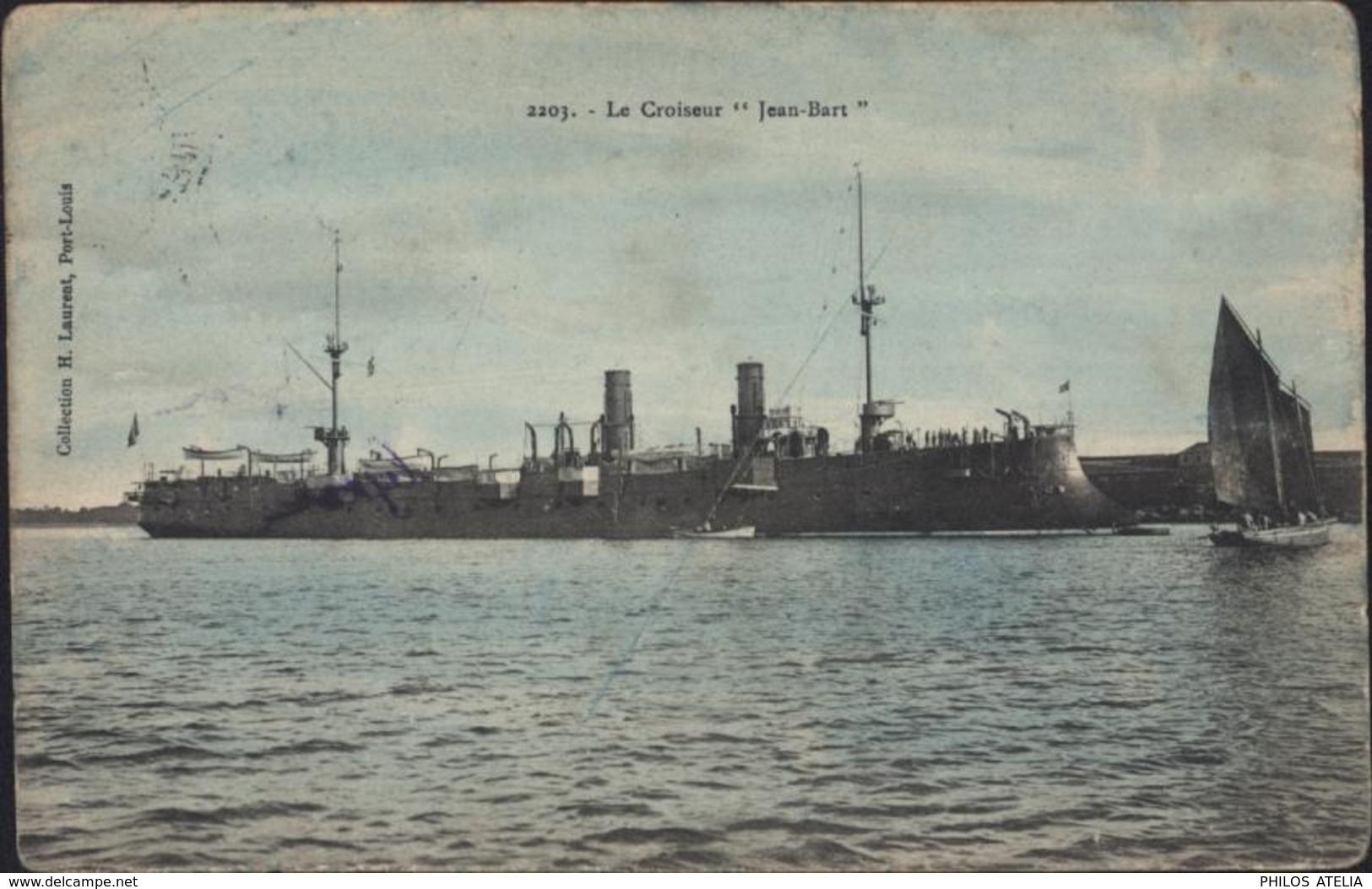 CPA Bateau Le Croiseur Jean Bart Collection H Laurent Port-Louis CAD Ambulant Anderneau à Lorient 30 Janv 08 - Guerra
