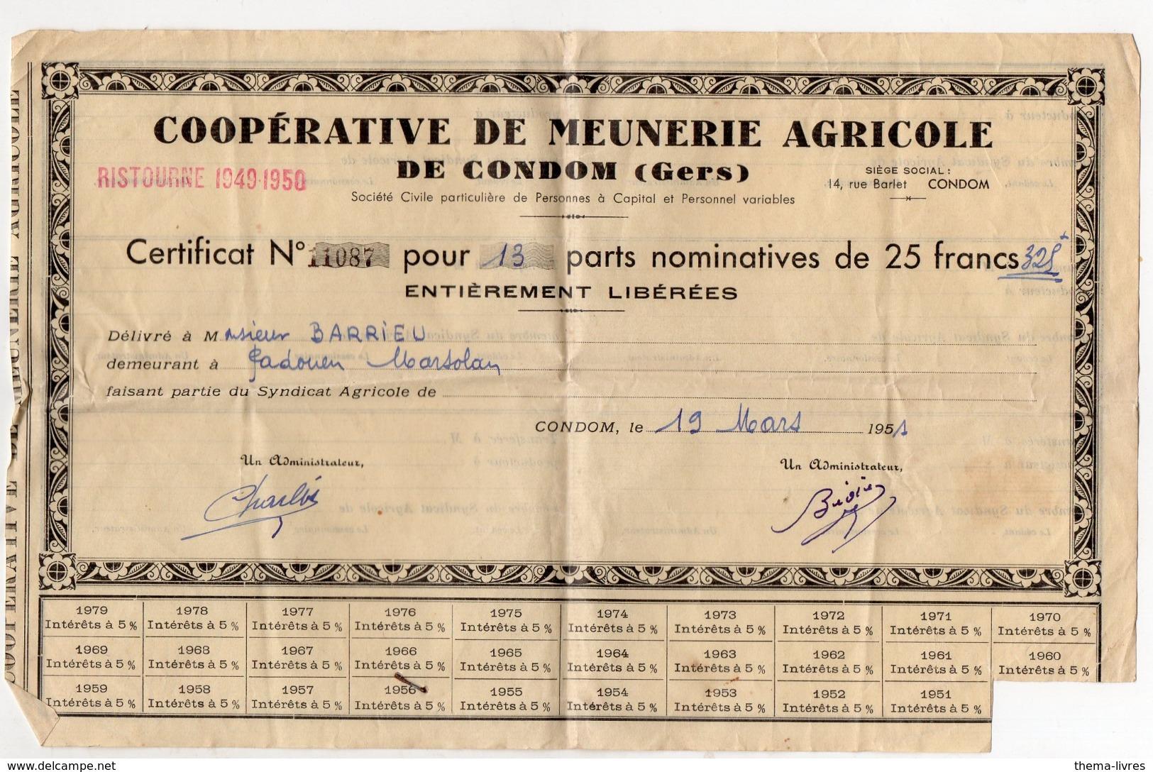 Condom (32 Gers) Certificat De 13 Parts De La COOPERATIVE DE MEUNERIE AGRICOLE 1951 (PPP20871) - Actions & Titres