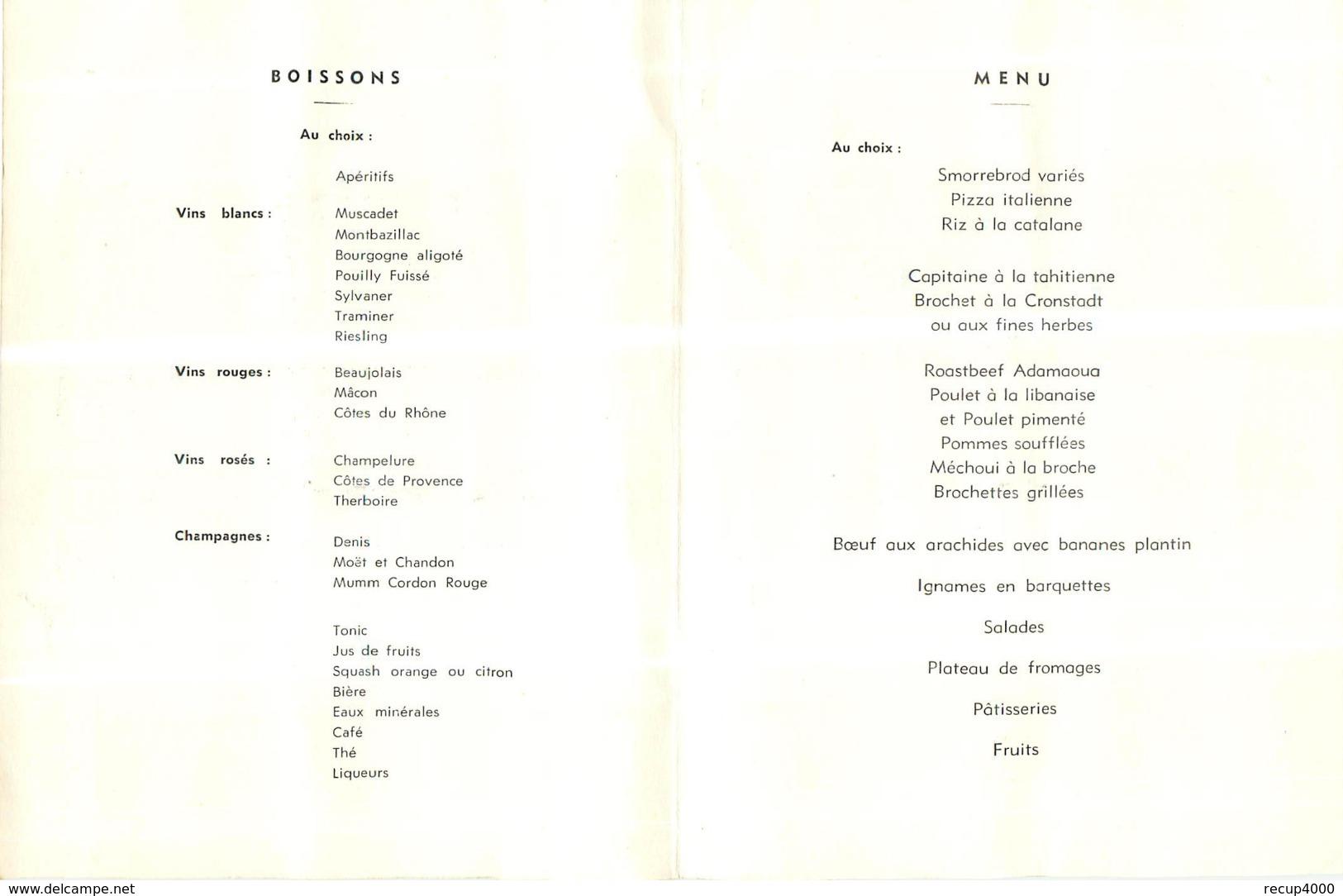 MENU  Réception Du Président Du Cameroun à Yaoundé 1961 Scans - Menus