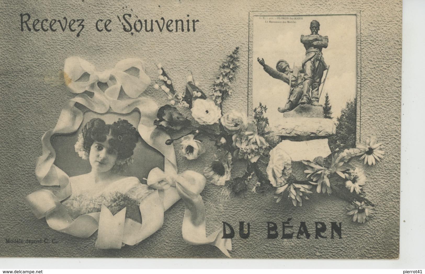 """OLORON SAINTE MARIE - Jolie Carte Fantaisie Femme Et Fleurs """"Recevez Ce Souvenir Du BÉARN """" - Oloron Sainte Marie"""