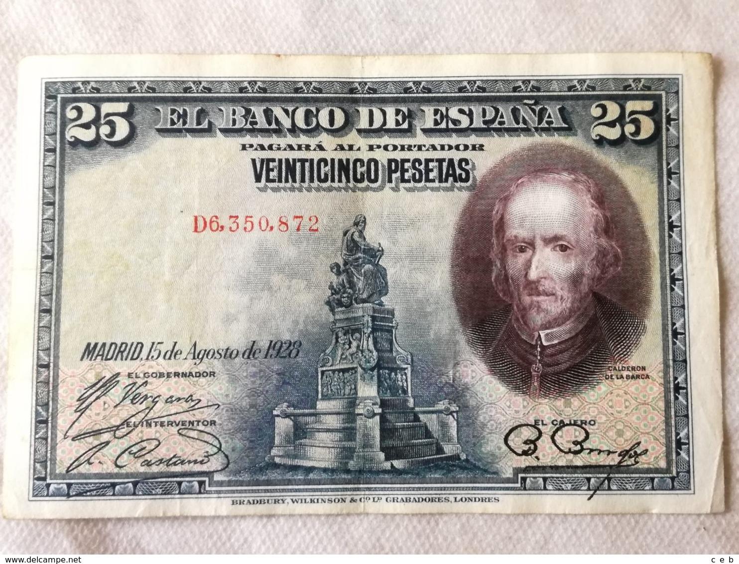Billete 25 Pesetas. 1928. Rey Alfonso XIII. España. Calderón De La Barca. - 1-2-5-25 Pesetas