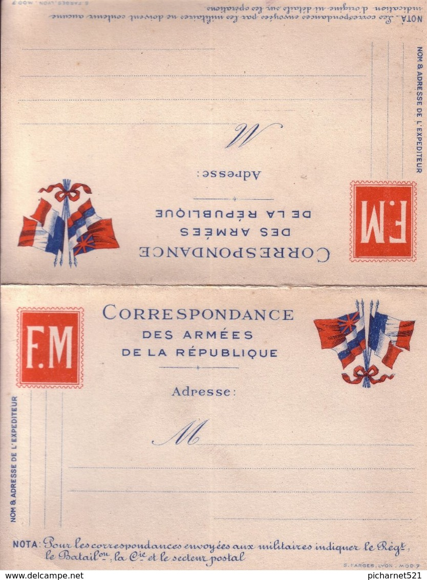 Carte Double, Correspondance Des Armées De La République. Détachable. TB état. - Militaria