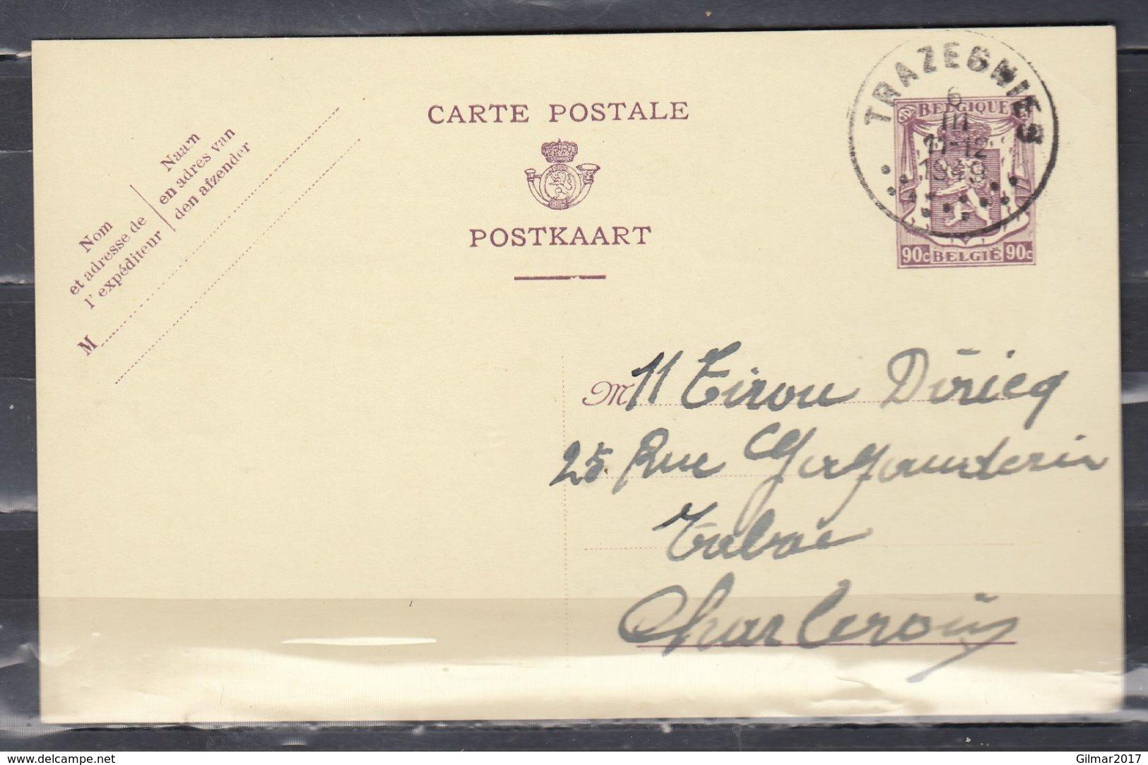 Postkaart Van Trazegnies Naar Charleroi - 1935-1949 Kleines Staatssiegel