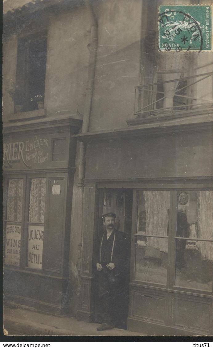 CPA Carte Photo Lyon 4ème - Comptoir De Vins Grande Rue De La Croix Rousse - Circulée 1909 - Lyon 4