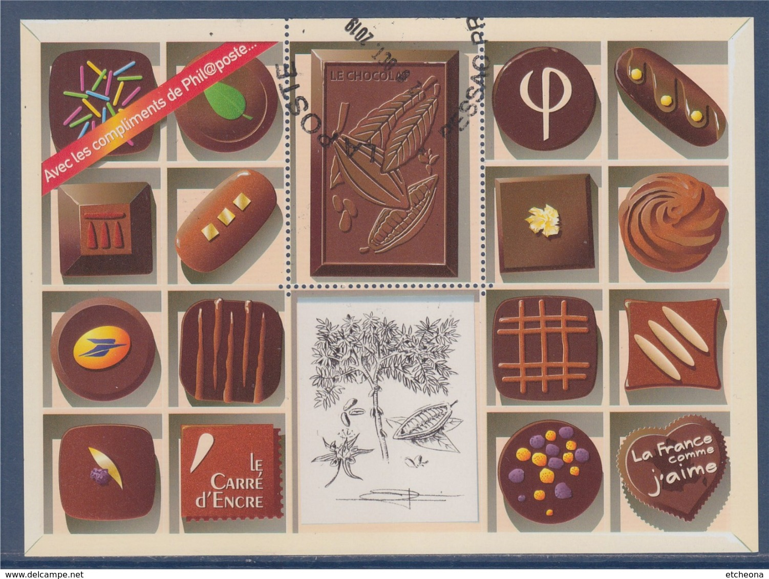 = Bloc Chocolat Hors Commerce Avec Les Compliments De Phil@poste Sans Valeur Faciale Visuel Timbre 4366 Oblitéré - Sheetlets