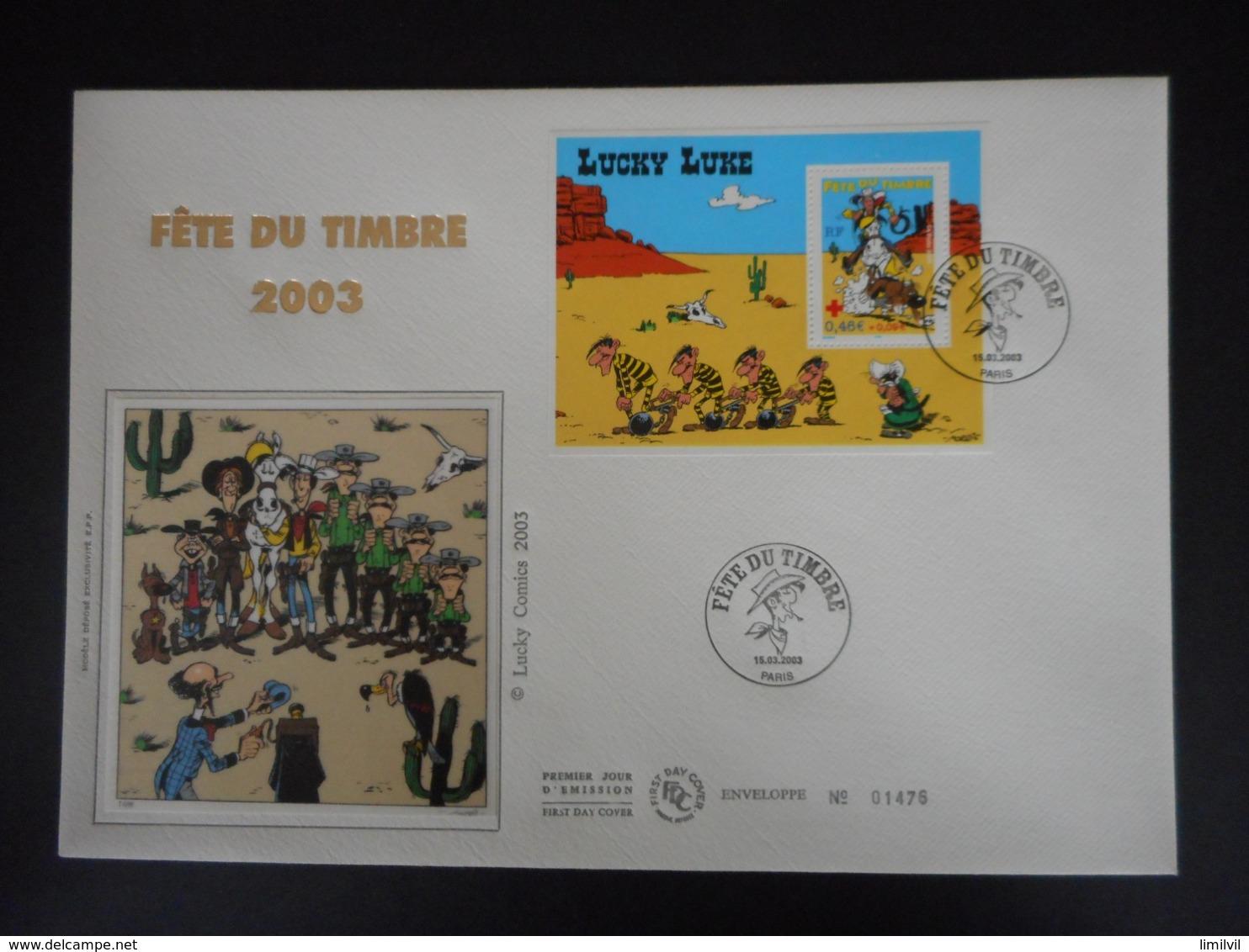 FDC Grand Format - Bloc Fête Du Timbre 2003, Lucky Luke, Oblit 15/3/2003 - FDC