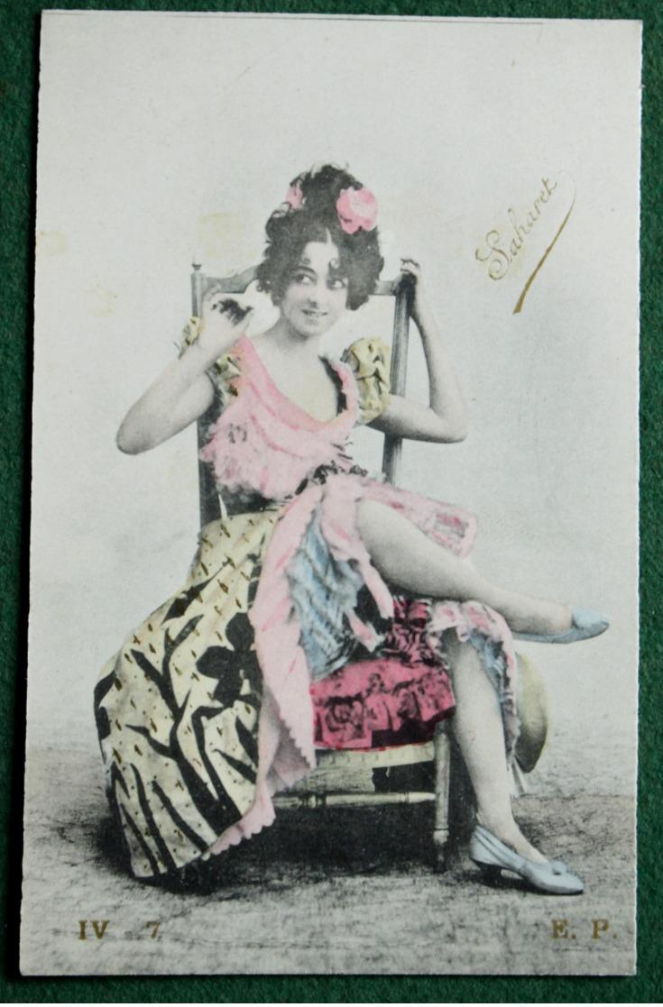 Carte Postale Ancienne Photo Repeinte - ACTRICE  Saharet - Photos