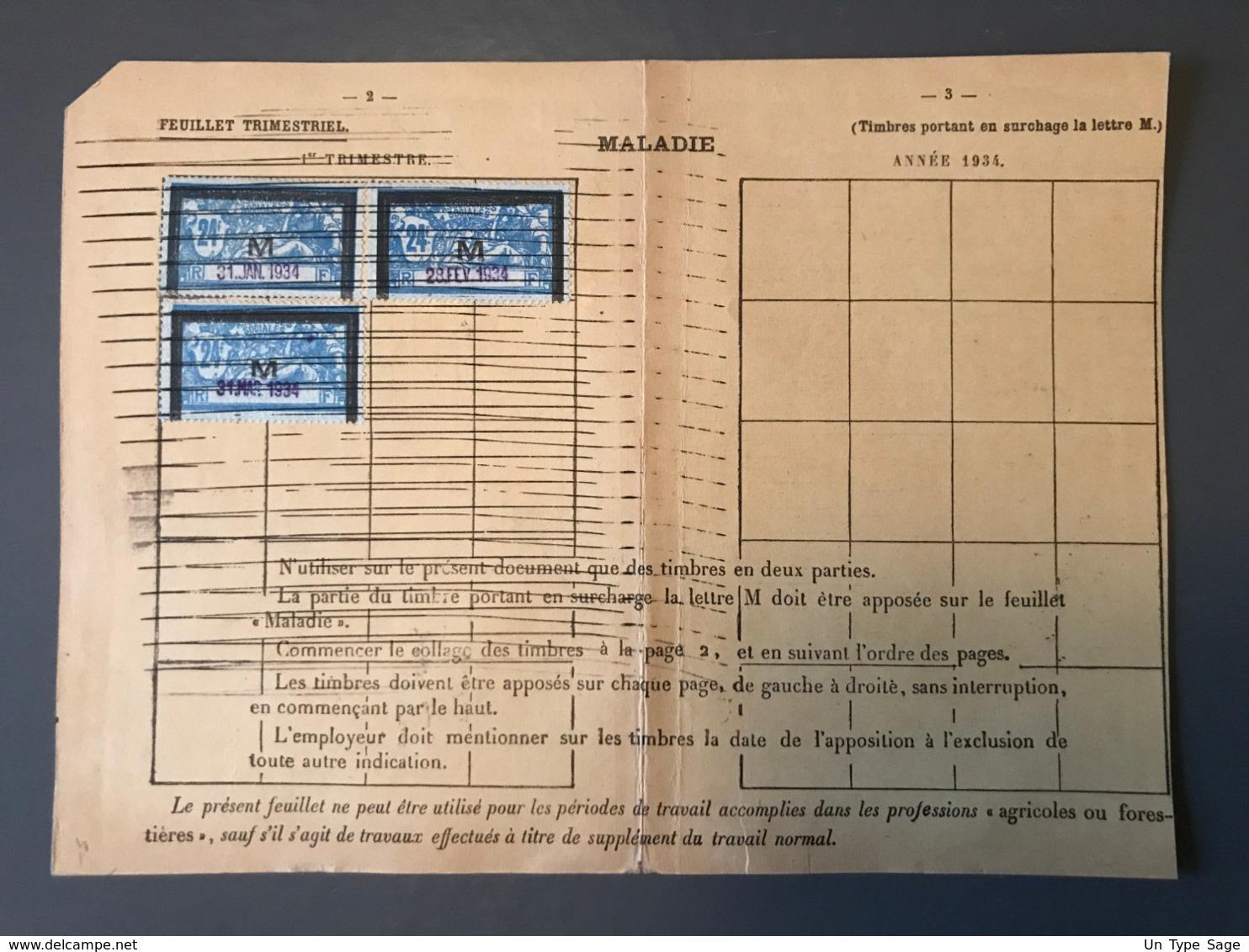 France, Merson M, Fiscaux Maladie, Sur Feuillet Trimestriel - (B1590) - Revenue Stamps