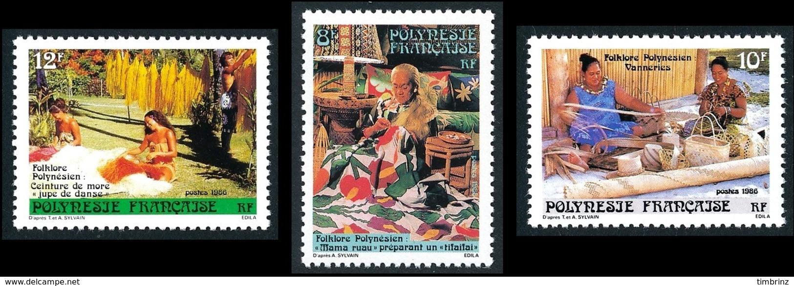 POLYNESIE 1986 - Yv. 263 264 Et 265 **   Cote= 1,70 EUR - Folklore (3 Val.)  ..Réf.POL24521 - Französisch-Polynesien