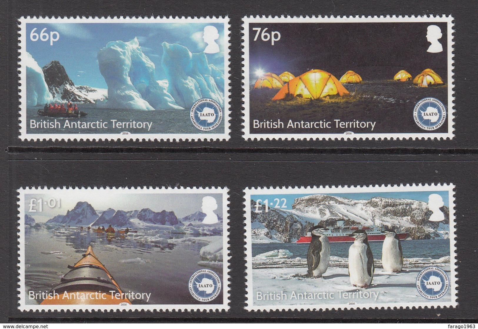 2016 British Antarctic Territory Tourism Penguins Kayaks Cruise Ship  Complete Set Of 4   MNH - Britisches Antarktis-Territorium  (BAT)
