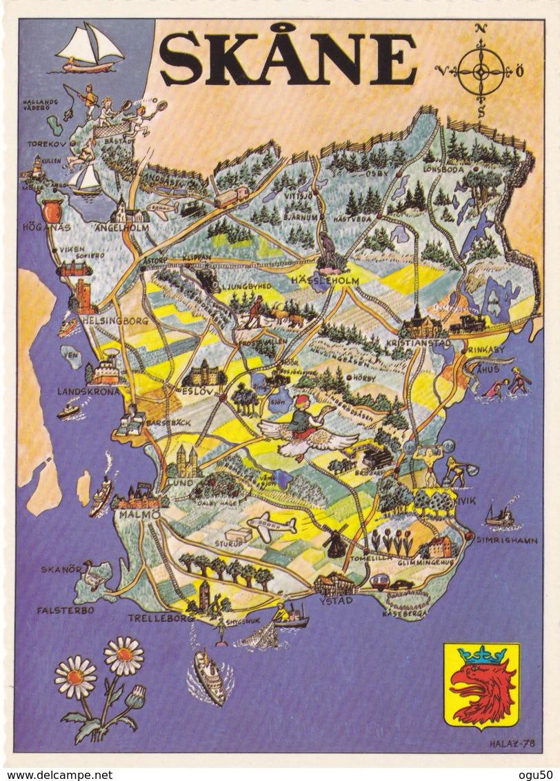 Skane (Suède) - Carte Géographique - Sweden