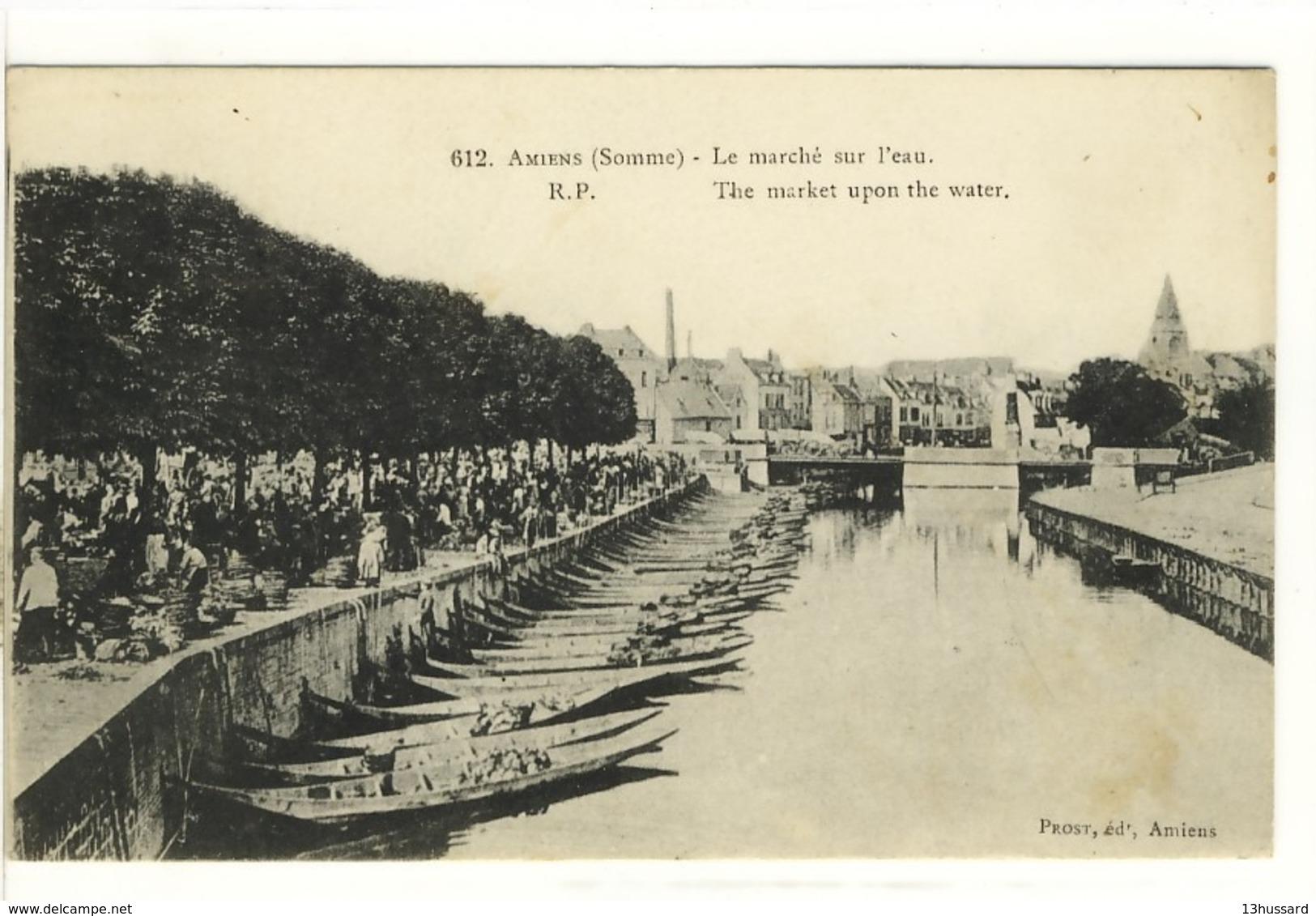 Carte Postale Ancienne Amiens - Le Marché Sur L'eau - Commerces - Amiens