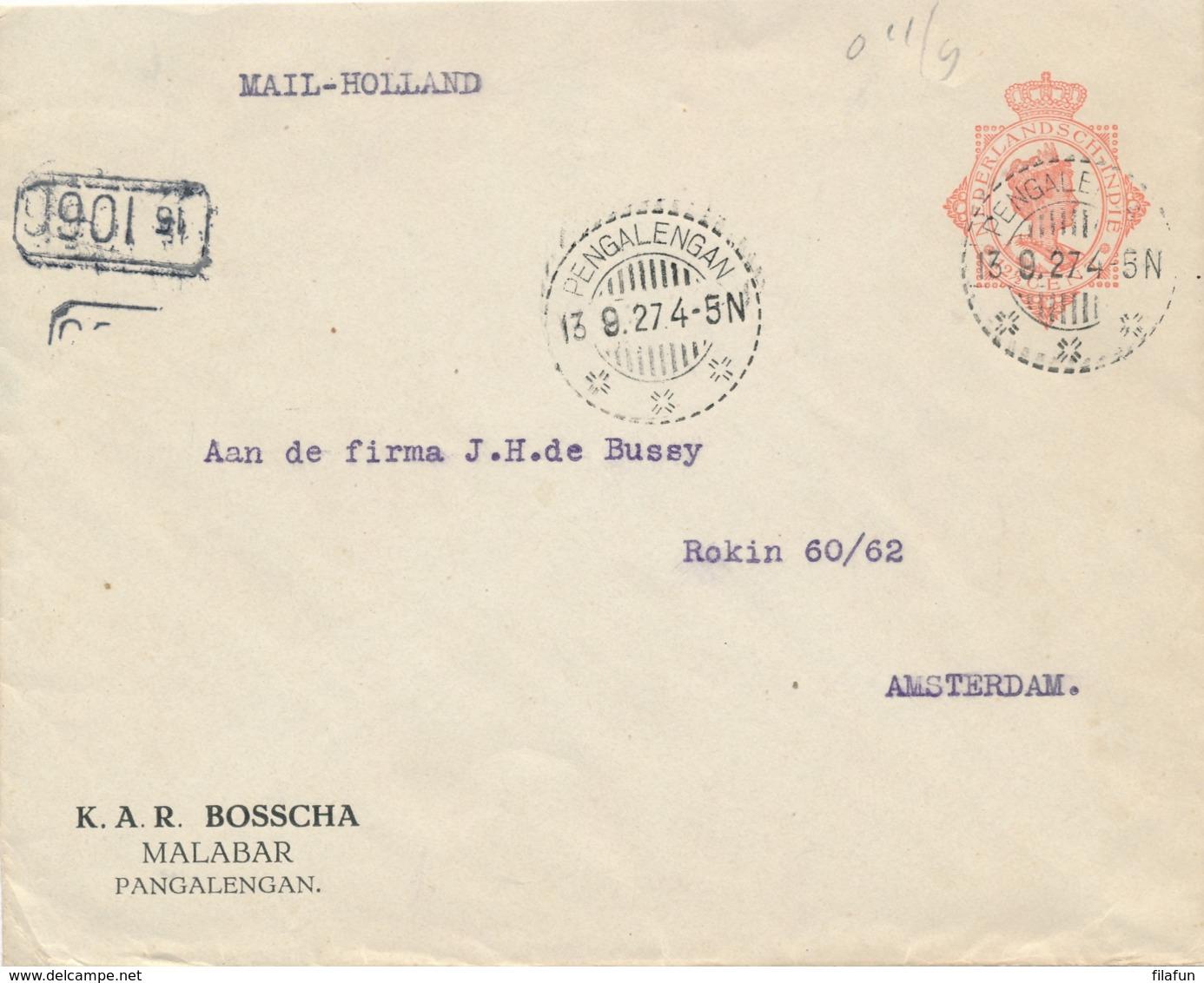 Nederlands Indië - 1927 - 12,5 Cent Wilhelmina , Envelop G47 Met Particuliere Opdruk Van LB PENGALENGAN Naar Amsterdam - Indes Néerlandaises