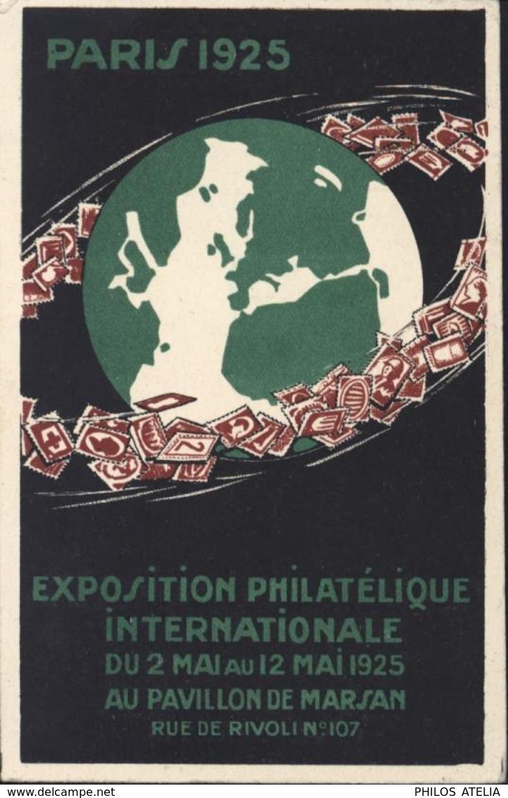 Entier 45c Rouge Pasteur Storch F E1 CP Officielle + CAD Exposition Philatélique Internationale Paris Mai 1925 6 5 25 - Standard Postcards & Stamped On Demand (before 1995)