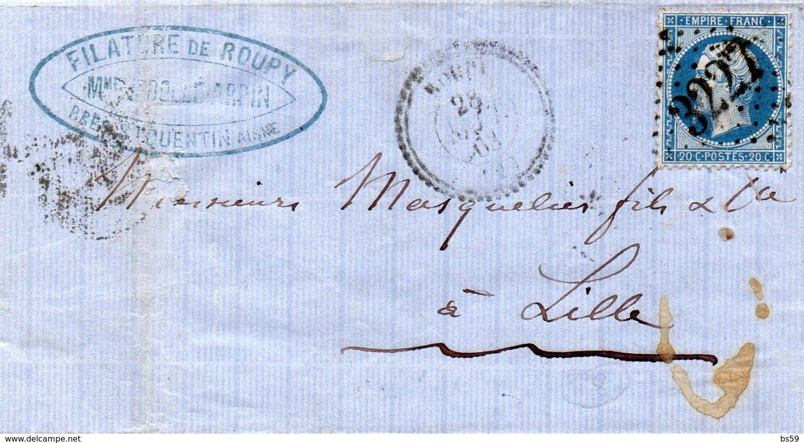 Aisne - LAC Affr N° 22 Obl GC 3227 Càd Type 22 Roupy - Marcophilie (Lettres)