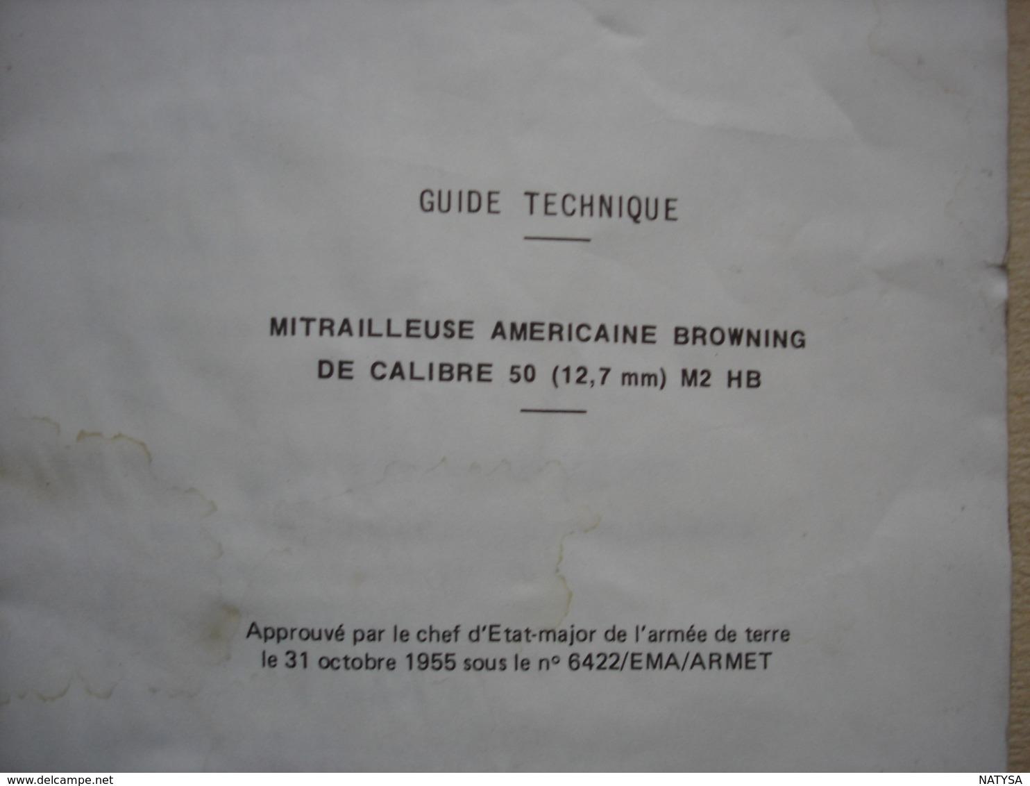 GUIDE TECHNIQUE Mitrailleuse Américaine BROWNING De Calibre 50 (12,7 Mm) - Altri