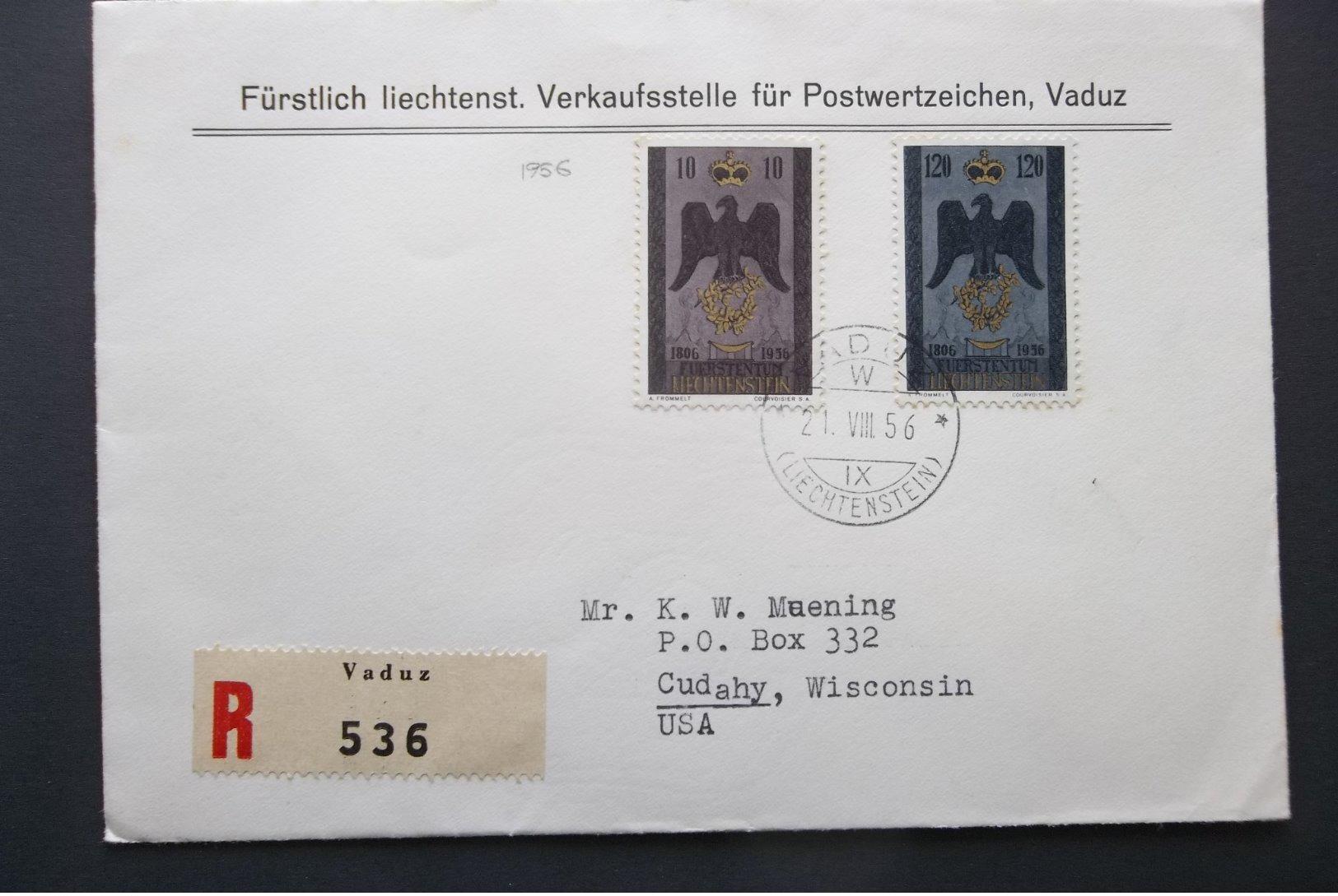 Liechtenstein: 1956 Rgt. Ca-FDC(?) To USA (#PU11) - Liechtenstein