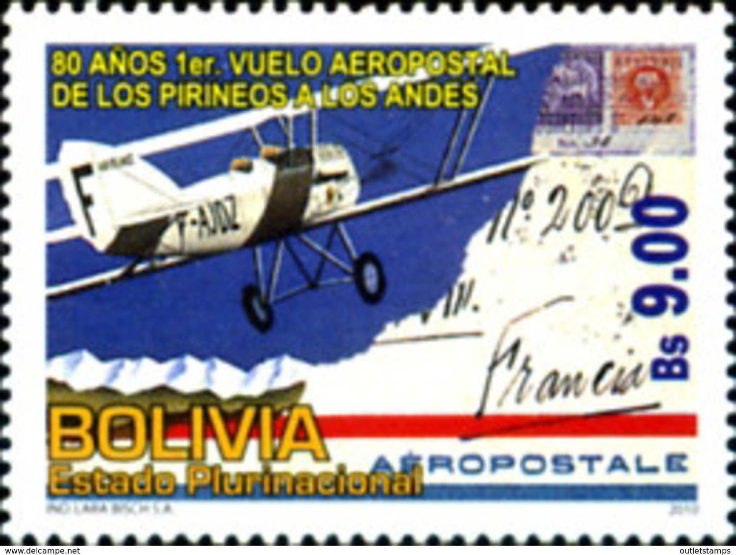 Ref. 252556 * NEW *  - BOLIVIA . 2010. 80TH ANNIVERSARY OF THE FIRST FLIGHT OF THE PYRENEES-PYR�N�ES-ANDES POSTAL SERVIC - Bolivia