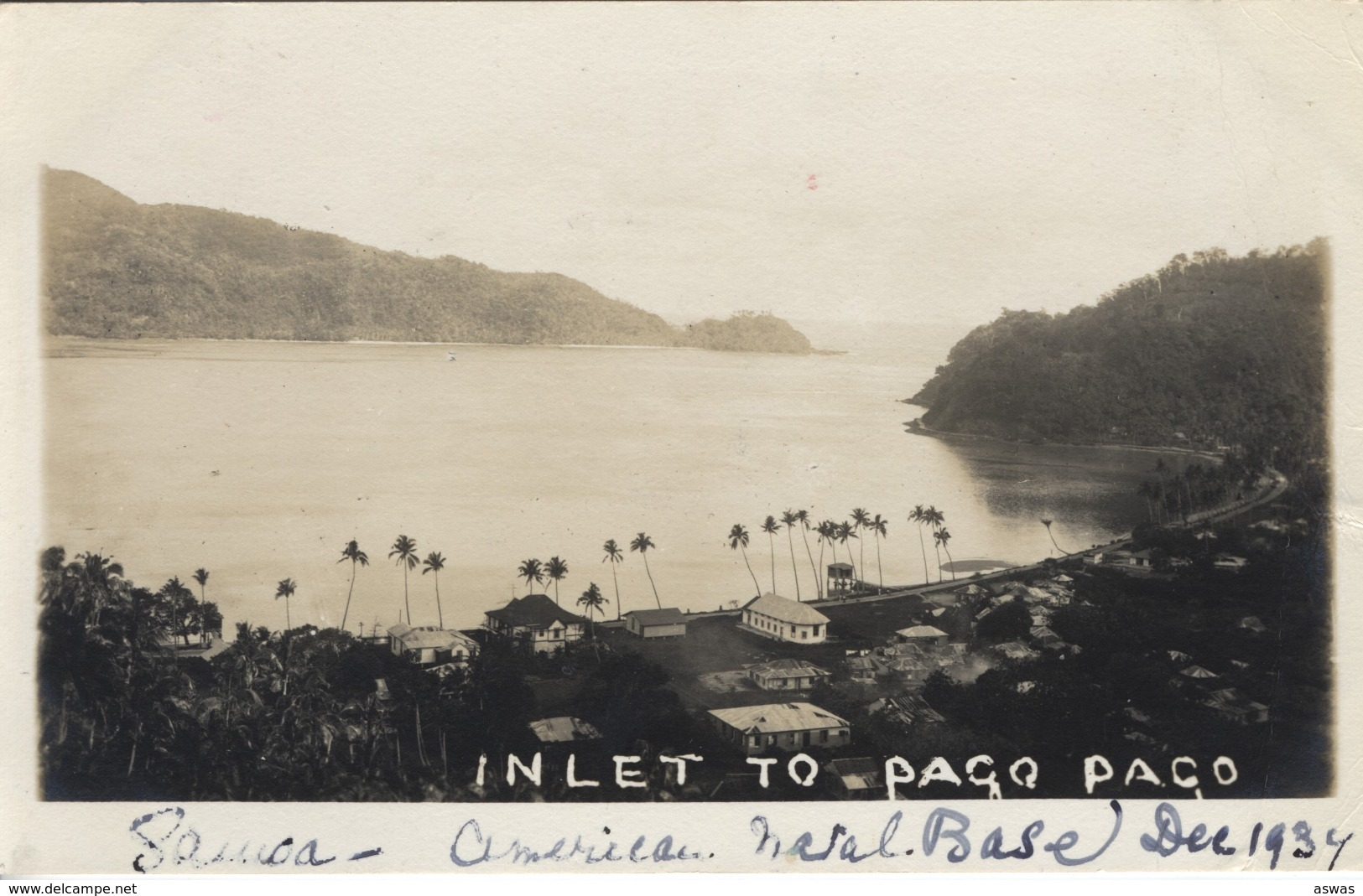 EARLY RPPC: INLET TO PAGO PAGO, AMERICAN SAMOA, NAVAL BASE 1937 - Samoa Americana
