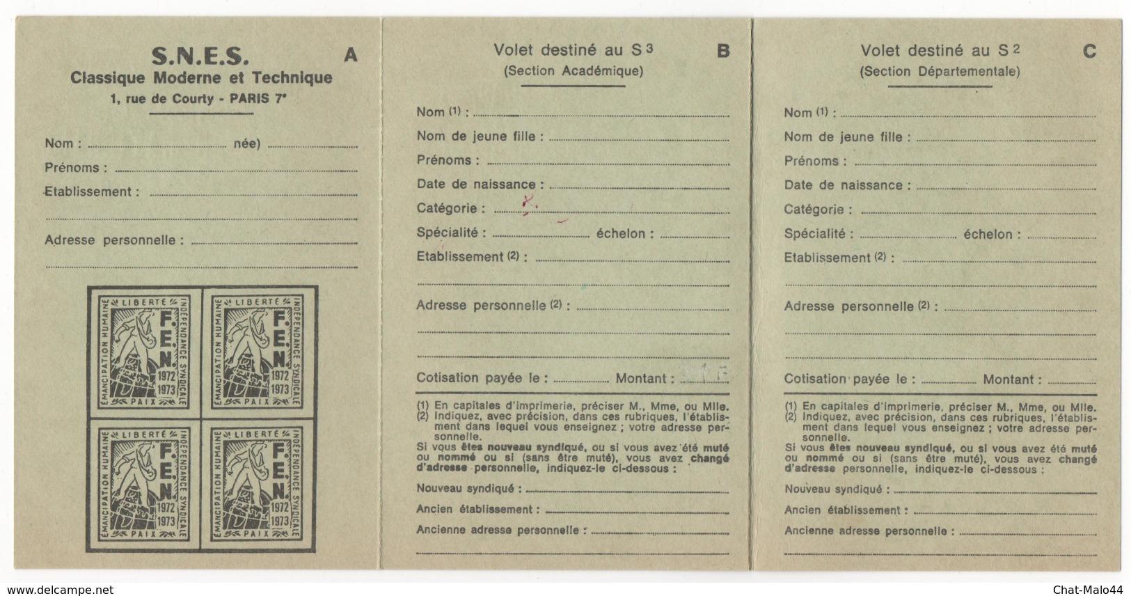 Fédération De L'Education Nationale. Carte Fédérale 1972 - 1973 - Historische Dokumente