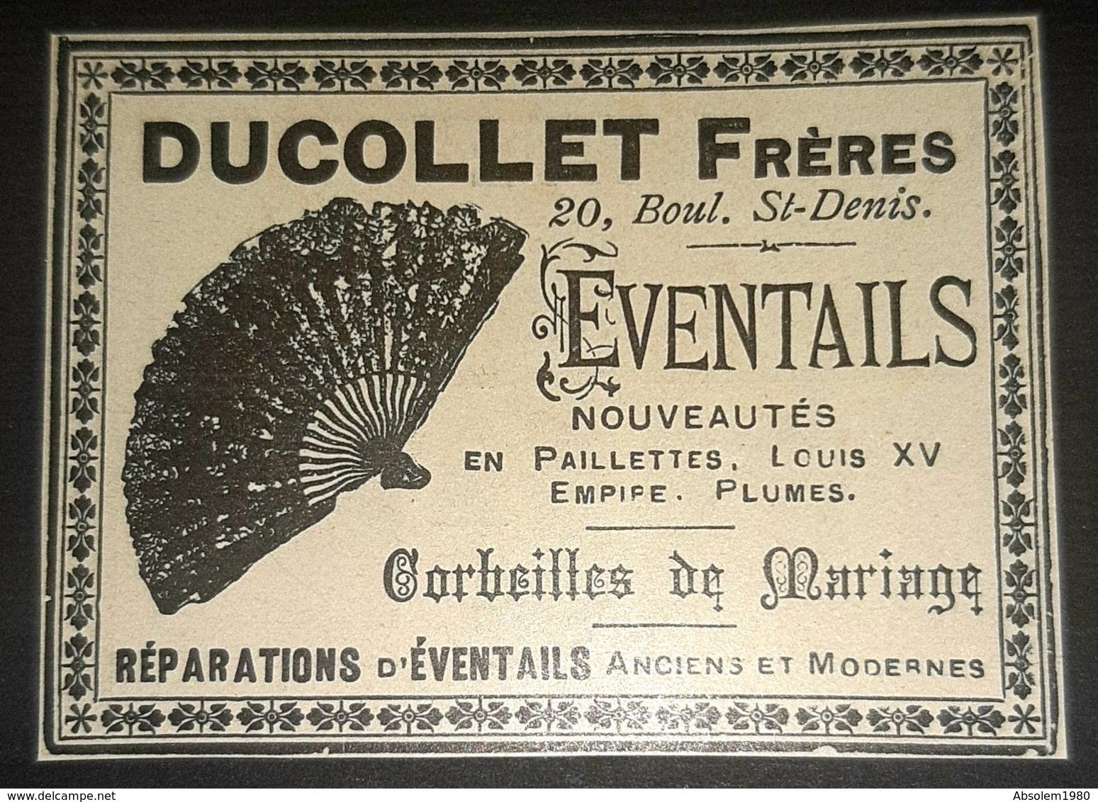 1897 DUCOLLET FRERES EVENTAIL PAILLETTES LOUIS XV EMPIPE PLUMES PUBLICITE ANCIENNE EVENTAILS ANTIQUE FAN ADVERSTISING - Publicités